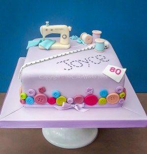 80th birthday Sewing machine cake
