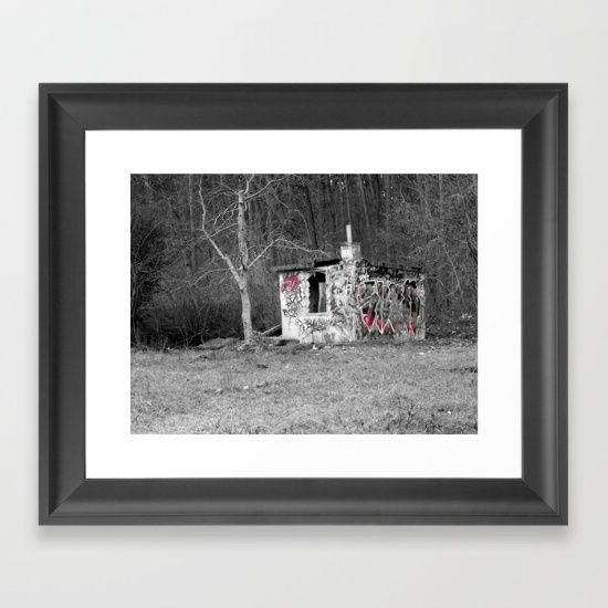 Destroyed punks hut in polish forest, weird post-apocalyptic cabin, artistic photo effect Framed Art Print