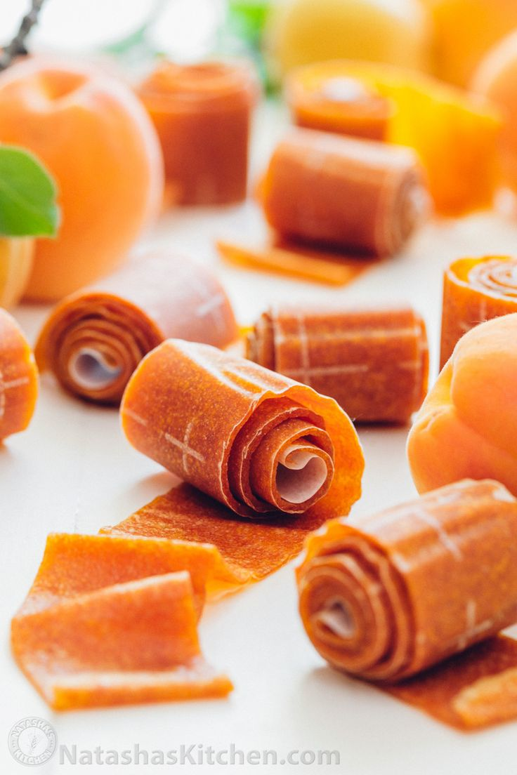 The kids go crazy for this apricot fruit leather! Easy, tastes way better than store-bought and only TWO INGREDIENTS! How to make fruit leather | natashaskitchen.com