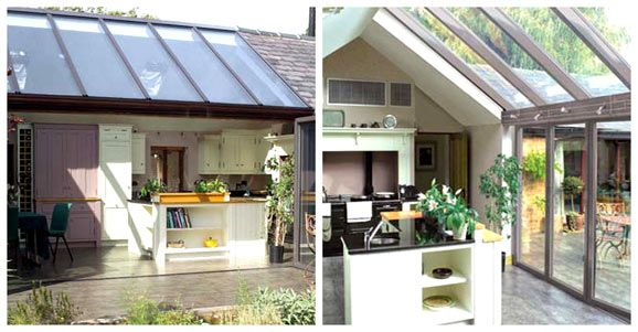 Kitchen Roof Light With Stackable Glass Doors Sun Room