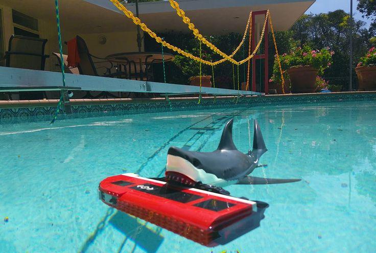 Giant shark destroys suspension bridge and attacks lego city train