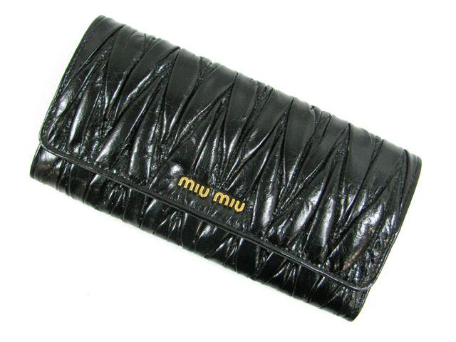 ミュウミュウZIP長財布/ブラック(金具:ゴールド)/レザー5M1109 -ミュウミュウ財布コピー