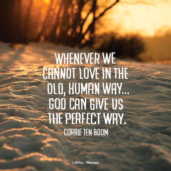 """""""Whenever we cannot love in the old, human way... God can give us the perfect way."""" —Corrie ten Boom"""