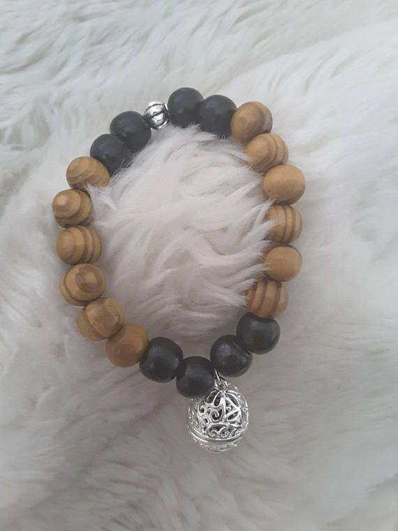 Essential Oil Charm Bracelet with Lava Rock and Wooden Beads
