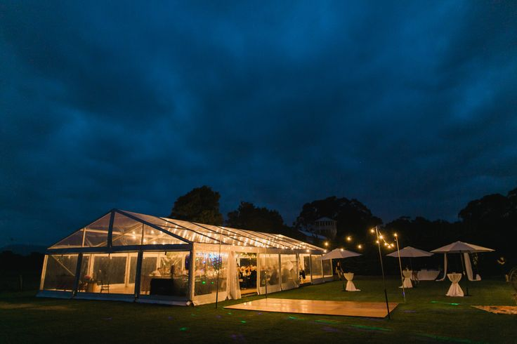 outdoor timber dance floor, festoon lighting, marquee wedding, clear roof marquee, clear walls, south coast weddings, south coast party hire