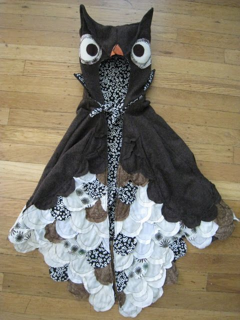 owl costume for halloween.  This can be altered for an adult with the same ideas...