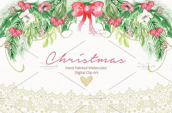 Watercolor christmas by designloverstudio on @creativemarket