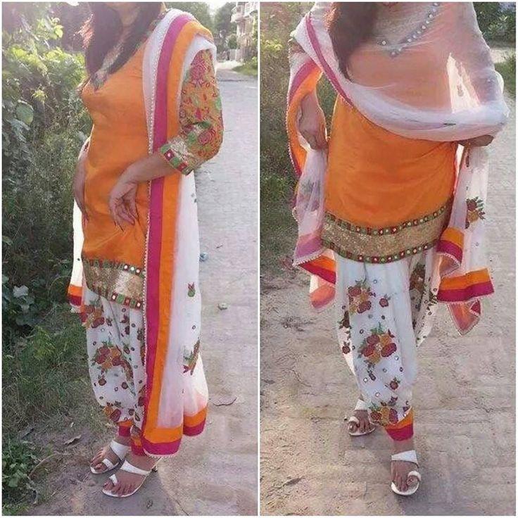mirror work phulkari PATIALA SHAHI SUIT in orange and white.....