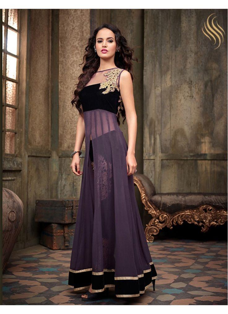 Most Beautiful Purple And Black Georgette Designer Anarkali