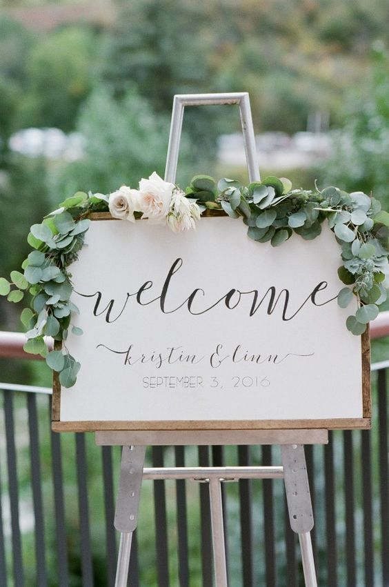 Greenery Wedding Welcome Sign!  Green Wedding | Green Bridal Earrings | Green Wedding Jewelry | Spring wedding | Spring inspo | Green | Emerald | Mint Green | Silver | Spring wedding ideas | Spring wedding inspo | Spring wedding mood board | Spring wedding flowers | Spring wedding formal | Spring wedding outdoors | Inspirational | Beautiful | Decor | Makeup |  Bride | Color Scheme | Tree | Flowers | Wedding Table | Decor | Inspiration | Great View | Picture Perfect | Cute | Candles | Table…