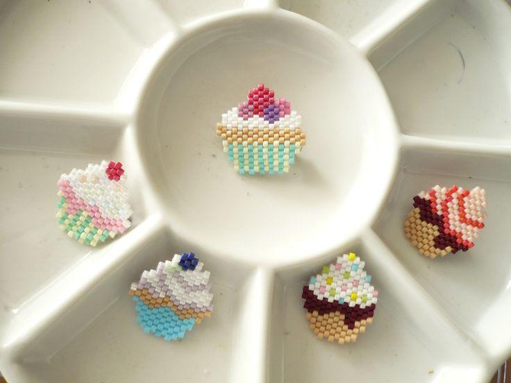 Brick stitch cupcake brooches no sugar added, gluten free