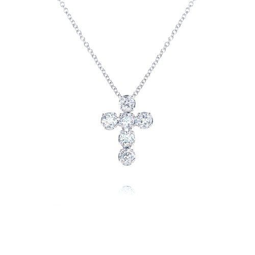 925 Sterling Silver Cubic Zircona 6 Stone Cross Pendant Necklace Blue Box Jewels. $42.99. Hangs from a delicate 925 rhodium-plated sterling silver princess-length chain with a 2 inch extension. Jewelry is nickel free, hypoallergenic, and irritation free.. Crafted with high quality rhodium plated 925 sterling silver; protects jewelry from tarnishing and also creates a lustrous white appearance.. Each necklace features six 3.5mm cubic zirconia stones prong set on a beautiful cro...
