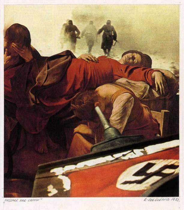 """Roman Cieslewicz, Passage par Lwow, 1982. Série """"Aimez vos ennemis"""". Photomontage © Collection Musée national de l'histoire et des cultures ..."""