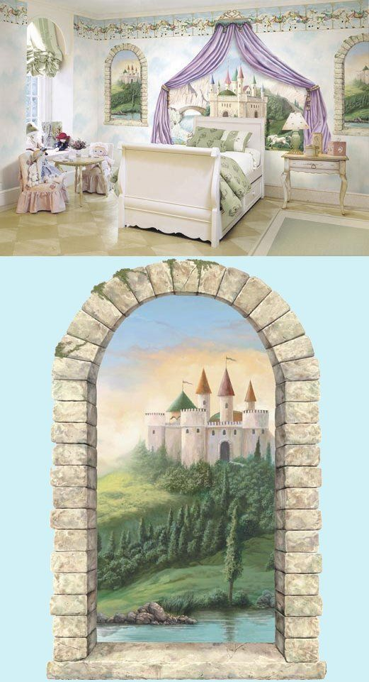 Castle window peel and stick wall mural wall sticker for Castle wall mural sticker