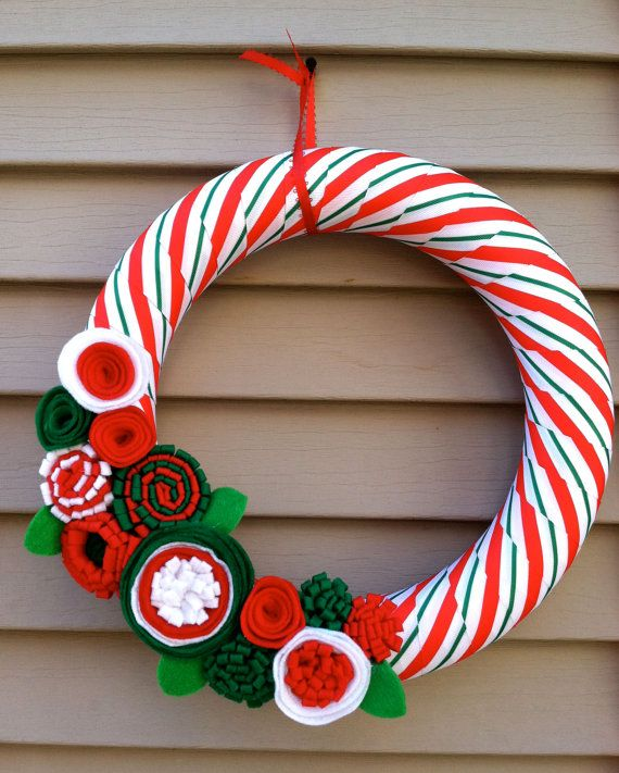 Christmas Wreath wrapped in Green & Red Striped by stringnthings