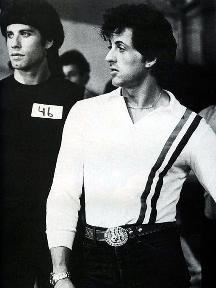 Sylvester Stallone  & John Travolta on the set of Stayin' Alive (1983)