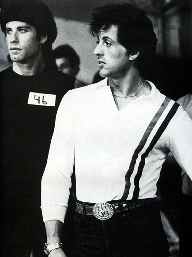 Sylvester Stallone  & John Travolta on the set of Stayin' Alive (1983)