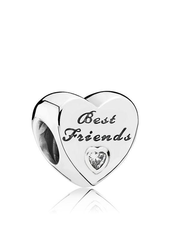 Pandora Charm - Sterling Silver & Cubic Zirconia Friendship Heart
