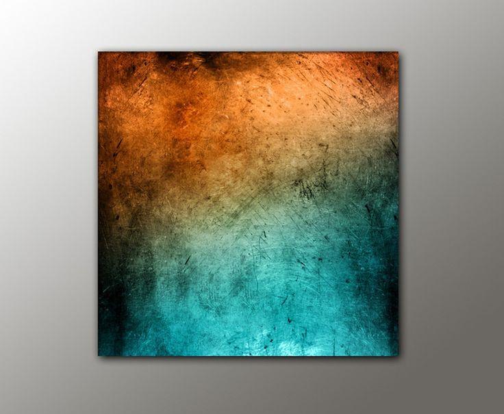 100x100 cm t rkis orange vintage style 13 100x100cm abstraktes bild knallige farben. Black Bedroom Furniture Sets. Home Design Ideas