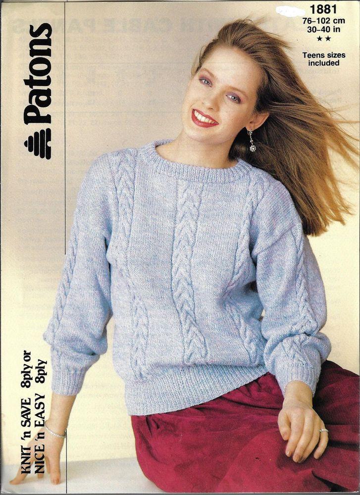 Women S Sweater Cable Aran Panels Patons 1881 Knitting Pattern 8 Ply