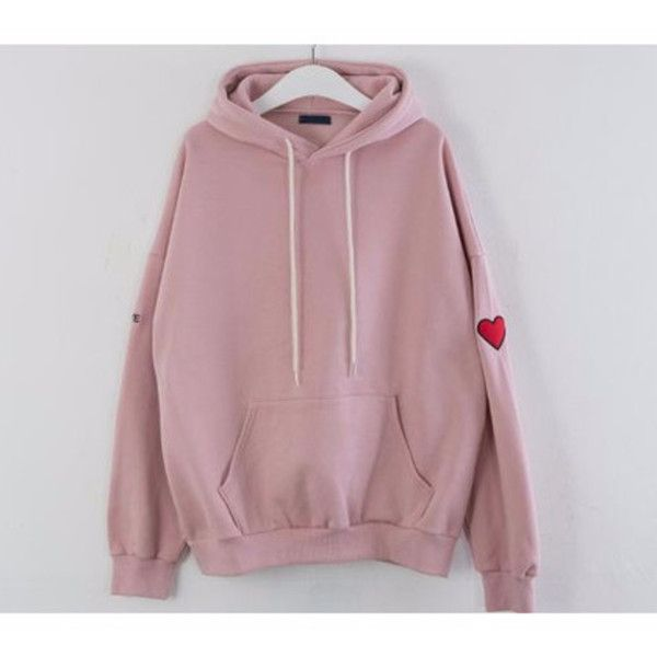 99bunnyHeart Embroidered Hoodie | MIXXMIX ($23) ❤ liked on Polyvore featuring tops, hoodies, hooded sweatshirt, fur lined hoodies, drawstring hoodie, long sleeve tops and embroidered hoodies