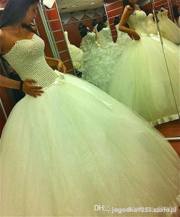 hua_yi_zhang 2014 Ball Gown Wedding Dresses Sweetheart Neckline Pearls with Glittering Tulle Floor-Length Bridal Dresses dhyz 01 from hua_yi_zhang, $201.86 | DHgate Mobile