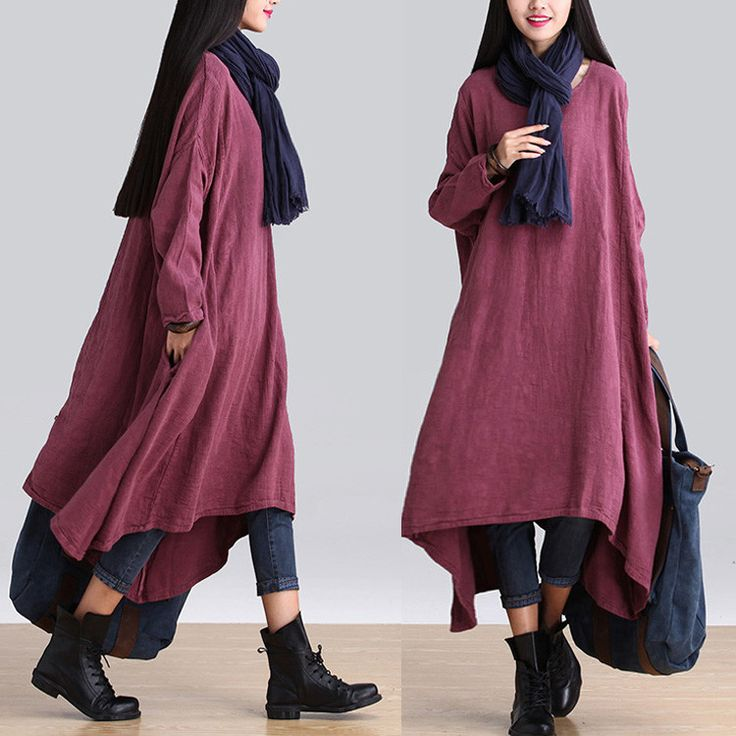 Women Casual loose fitting Irregular linen long sleeve dress - Buykud