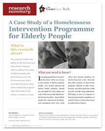 homeless case studies Young people's accounts of homelessness: a case study analysis of with the aim of informing counselling psychology practice with young homeless people, this.