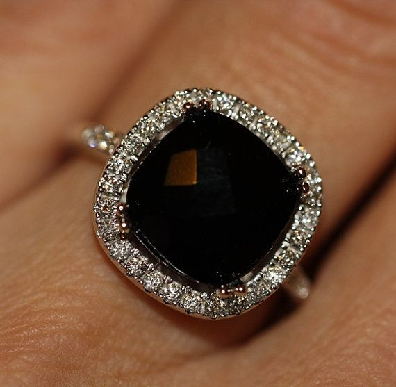natural black onyx conflict free diamond halo engagement ring in 14k white gold 10x10 handmade black cushion engagement ring black gemstone