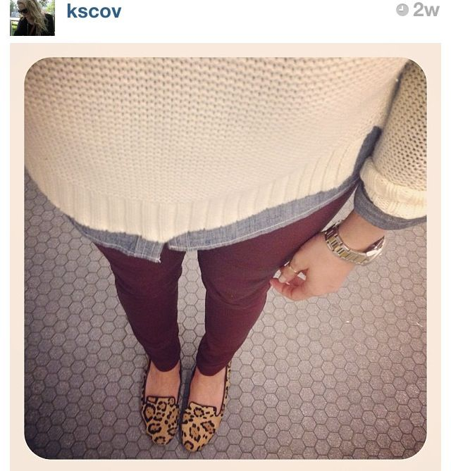 cream sweater layered with chambray, wine colored skinnies, leopard loafers