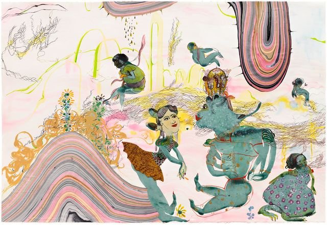 Rina Banerjee, 'Beauty was not in the East - her figure was in part a repellant I and his aura was not so neat. The locus of a pleasure stolen from deceit, stubborn and excessive the oriental was transformed in part as objects of sexual bad habits ,' 2013, Jacob Lewis Gallery