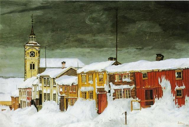 Sohlberg, Harald (1869-1935) - 1903 After the Snowstorm, Roros Sidestreet (National Gallery, Oslo, Norway) by RasMarley, via Flickr