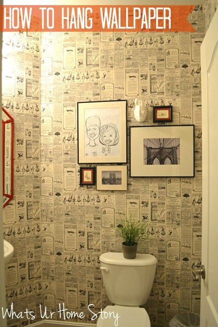 Whats Ur Home Story: How to hang wallpaper, vintage newspaper wallpaper, wallpaper powder room