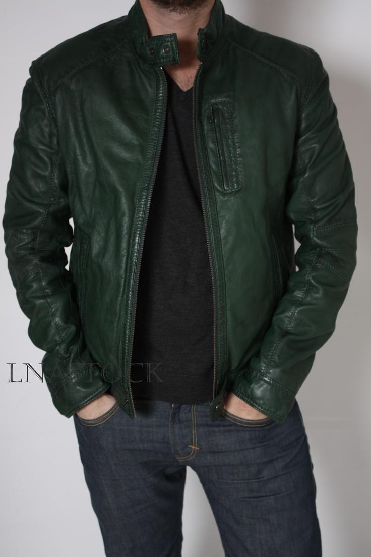 Blouson cuir homme Oakwood vert bouteille - LNASTOCK