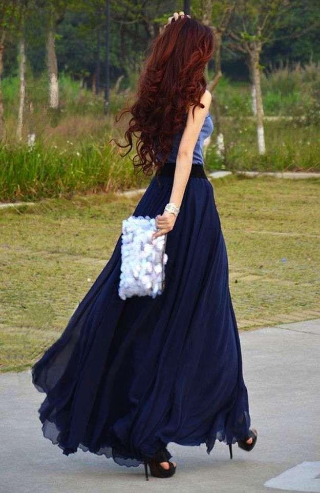 Cómo combinar las faldas largas en primavera: Fotos de los modelos - Falda larga chifón