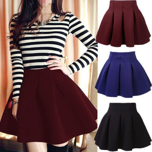 Fashion Women's Stretch Waist Plain Skater Flared Pleated Mini Skirt New FSS #New #Fashion