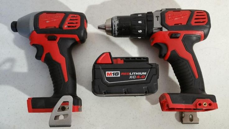 $85.95 Used Cordless Milwaukee Hammer Drill 2607-20 & Impact Driver 2656-20 18v Battery #Milwaukee