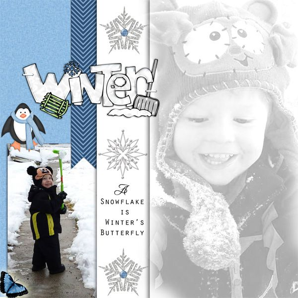 made with the, It's snowtime kit available at Scrappy bee