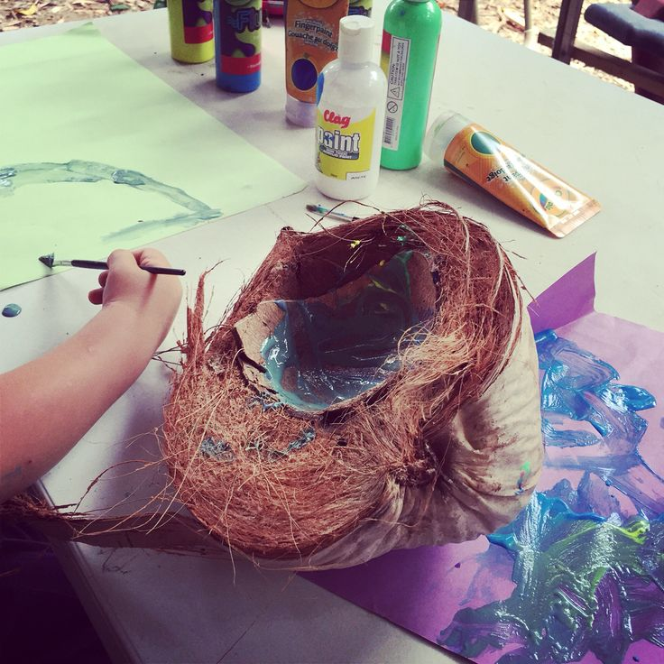 Not just for eating! Coconut shells are quite useful, too. #coconuts #funwithkids #painting #ozcoconutlife #picasso #workathomemom #workathomemum #rainforestlife #sustainable