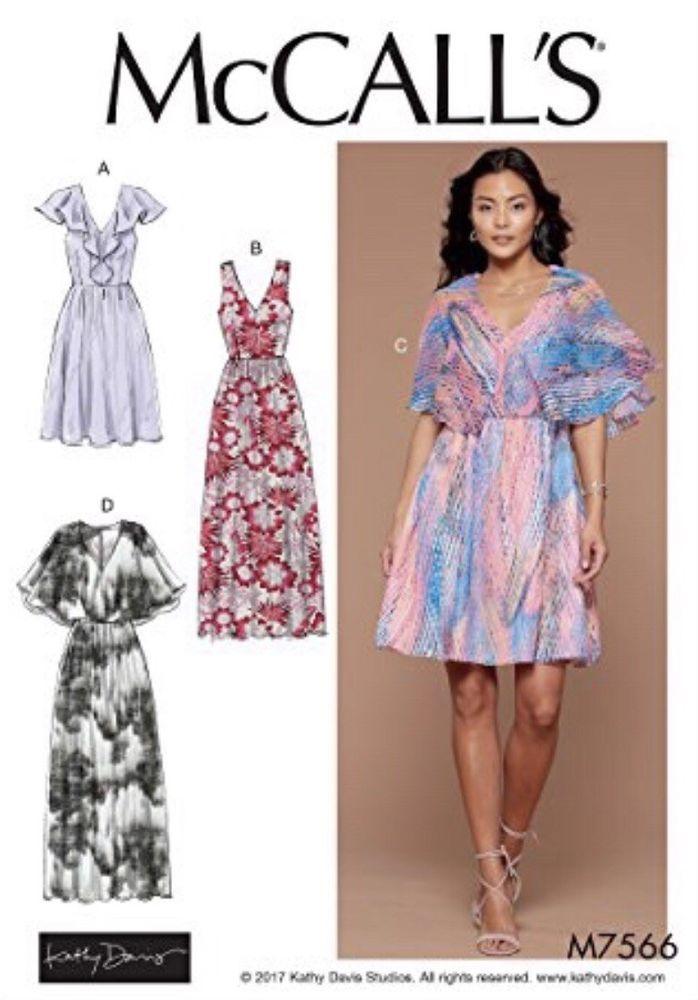Size E5 McCalls Patterns M7315 Misses Handkerchief-Hem Dresses 14-16-18-20-22