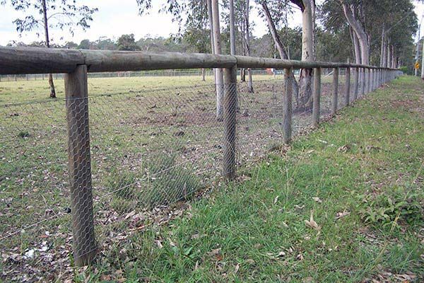 hayters-timber-and-paving-gallery-fences-treated-pine-125mm-rounds-posts-and-top-with-netting.jpg (600×400)