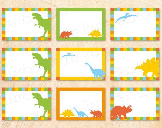 dinosaur printable buffet cards  food tags  name tags