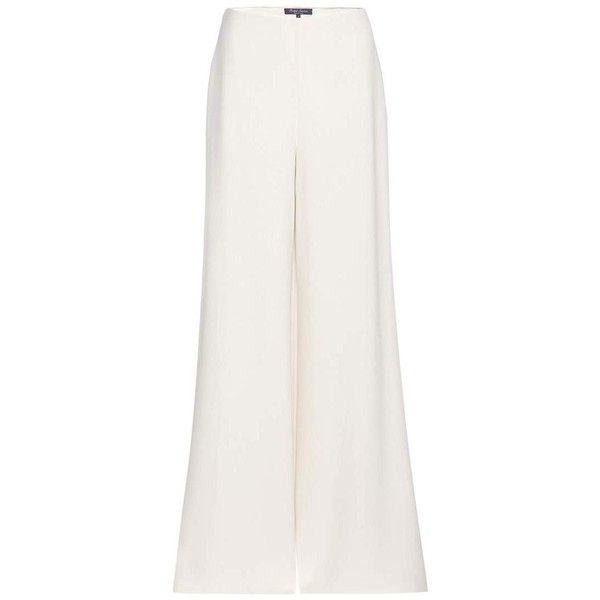 Ralph Lauren Charmain Silk Wide-Leg Trousers (€1.835) ❤ liked on Polyvore featuring pants, white, ralph lauren, wide leg trousers, wide leg pants, white wide leg pants and silk pants