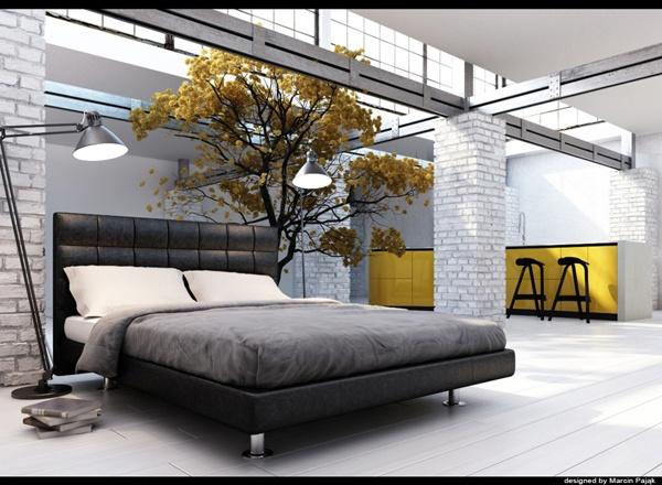 3d visualization / interior design by Marcin Pająk, via Behance