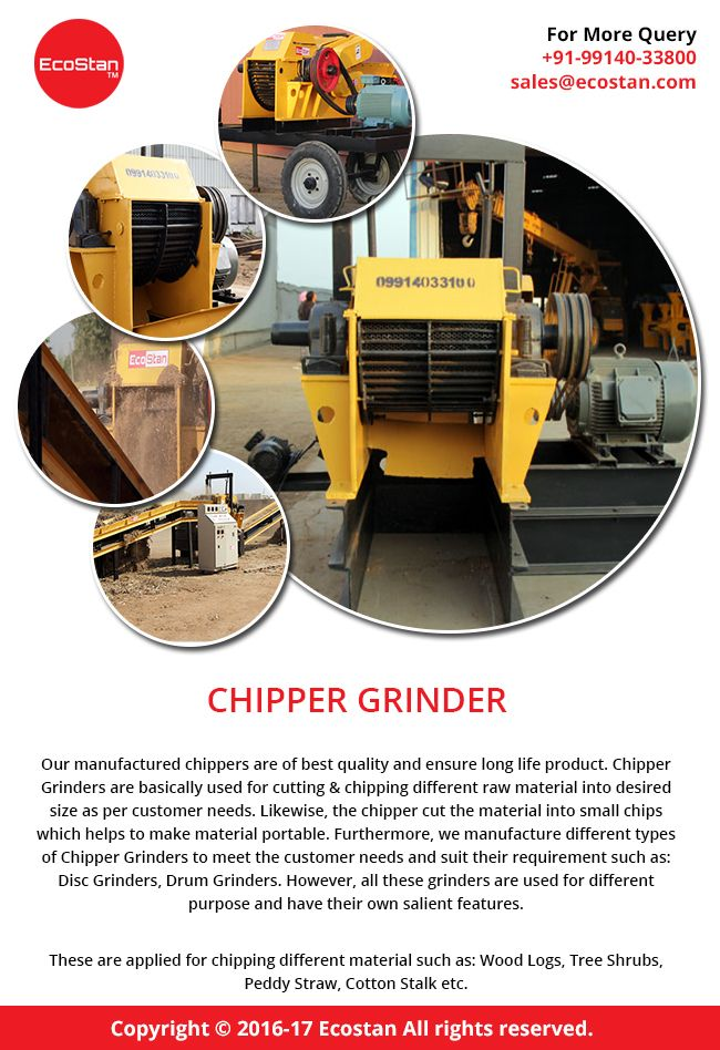 Commercial wood chipper for sale that chip, shred and mulch for recycling the waste and additional industrial material. Shop online from #EcoStan for the quality #ChipperGrinder and find the best deal.