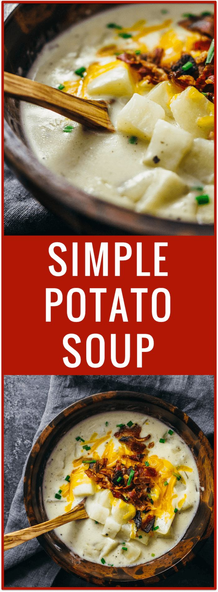Creamy potato soup with bacon and cheddar | Cheesy potato soup | Simple potato soup | Comfort food | One pot dinner | Easy recipe via @savory_tooth