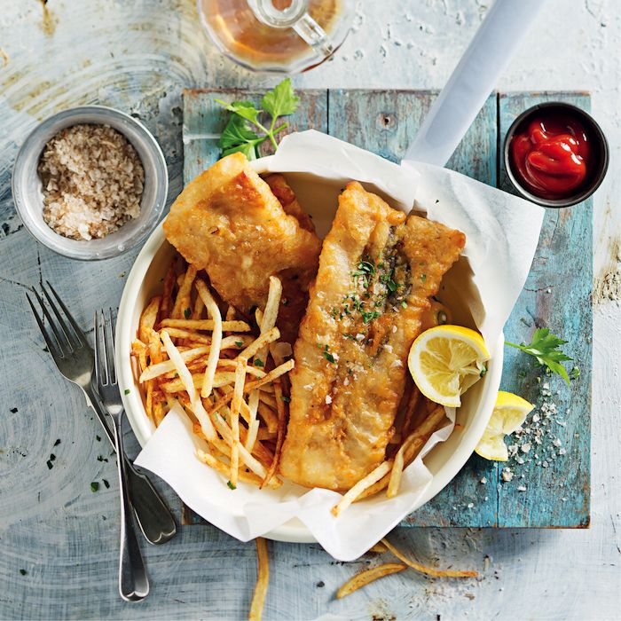 Soda-water-battered fish and chips