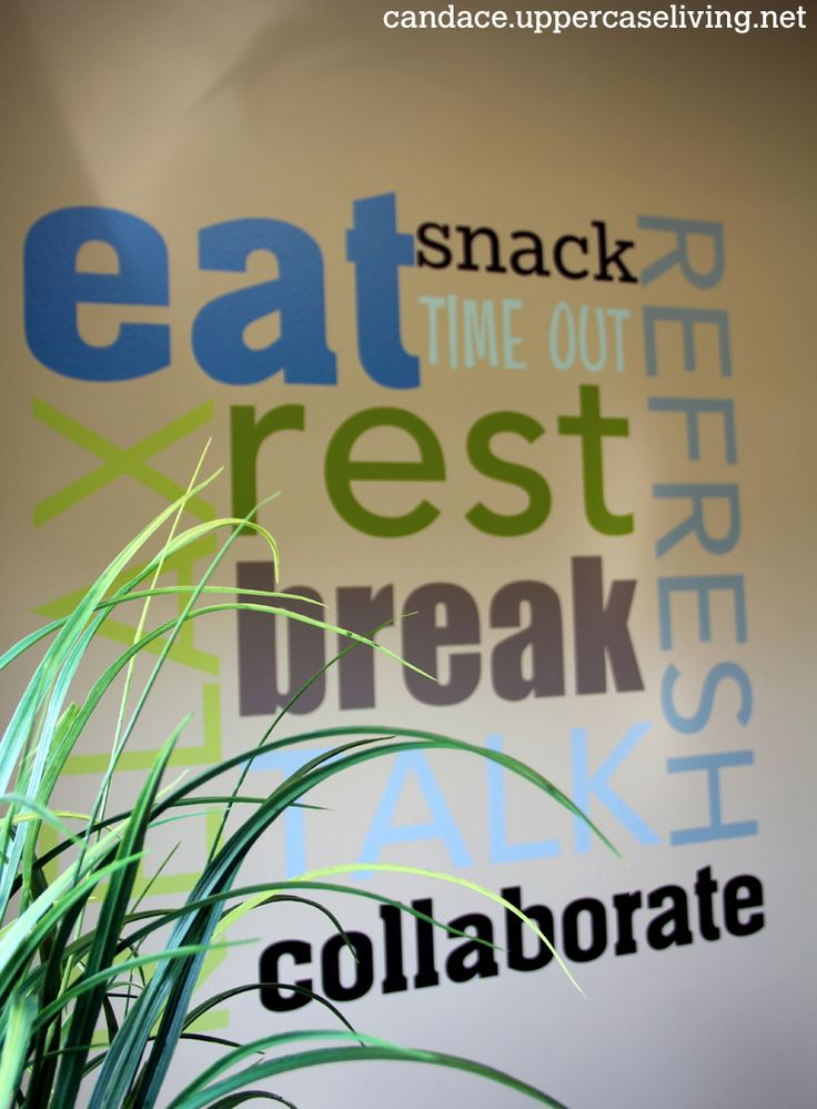 customized uppercase living in an office break room like the messaging on the wall eat rest collaborate refresh employee break room decorating ideas beautiful business office decorating ideas