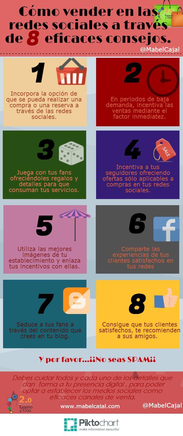 Cómo vender en las redes sociales a través de 8 eficaces consejos vía: @mabelcajal