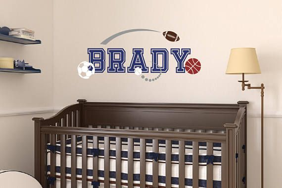 Boy Name Wall Decal  Sports Wall Decal  Removable Vinyl